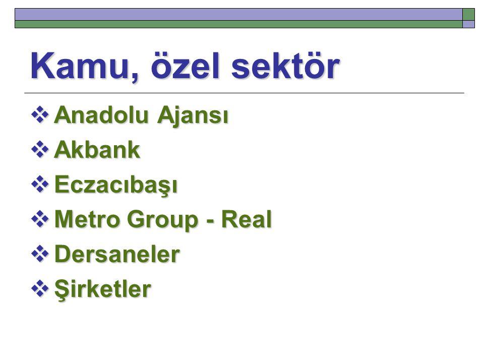 Kamu, özel sektör  Anadolu Ajansı  Akbank  Eczacıbaşı  Metro Group - Real  Dersaneler  Şirketler