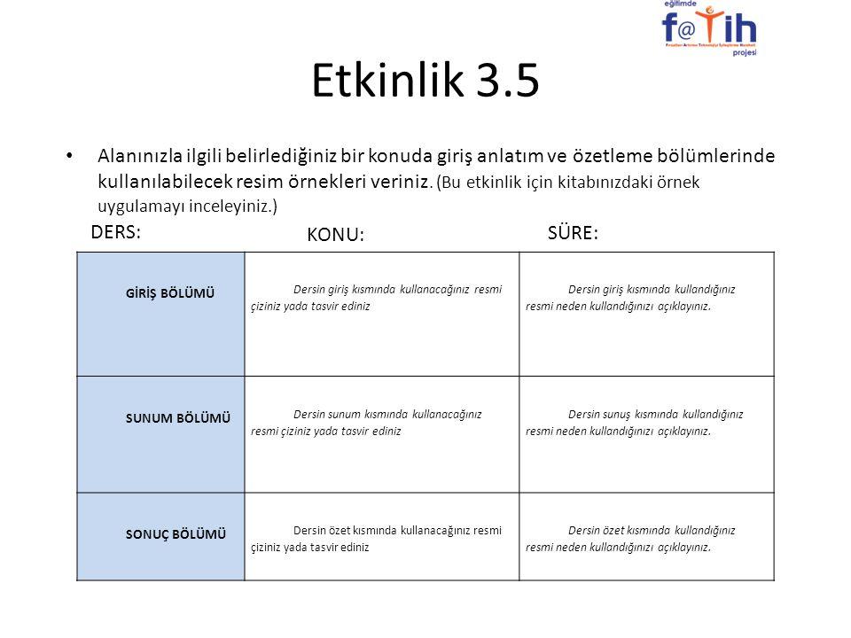 Etkinlik 3.5 Alanınızla ilgili belirlediğiniz bir konuda giriş anlatım ve özetleme bölümlerinde kullanılabilecek resim örnekleri veriniz. (Bu etkinlik