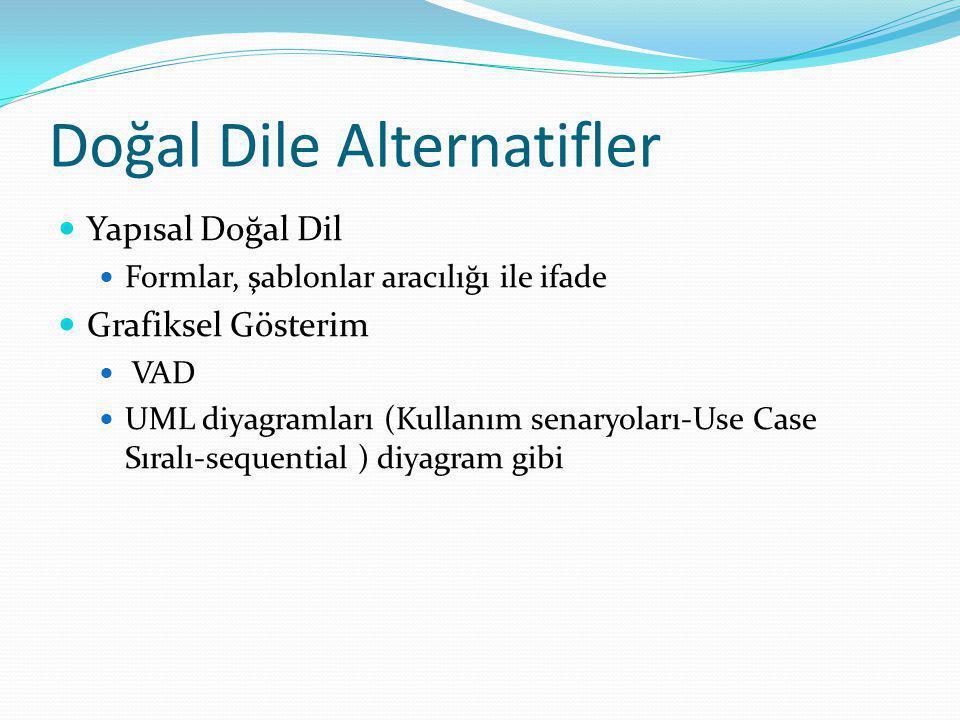 Doğal Dile Alternatifler Yapısal Doğal Dil Formlar, şablonlar aracılığı ile ifade Grafiksel Gösterim VAD UML diyagramları (Kullanım senaryoları-Use Ca