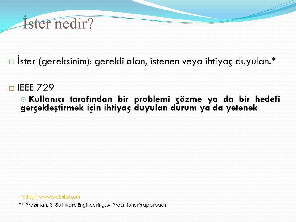 İster nedir?  İ ster (gereksinim): gerekli olan, istenen veya ihtiyaç duyulan.*  IEEE 729  Kullanıcı tarafından bir problemi çözme ya da bir hedefi