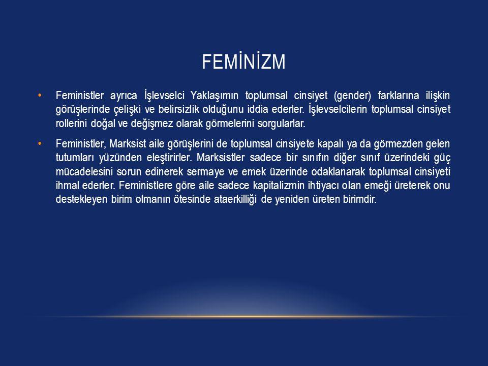 FEMİNİZM Feministler ayrıca İşlevselci Yaklaşımın toplumsal cinsiyet (gender) farklarına ilişkin görüşlerinde çelişki ve belirsizlik olduğunu iddia ed