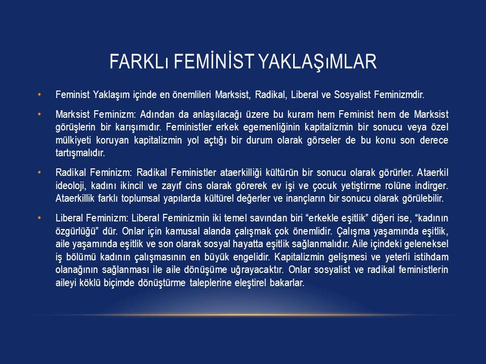 FARKLı FEMİNİST YAKLAŞıMLAR Feminist Yaklaşım içinde en önemlileri Marksist, Radikal, Liberal ve Sosyalist Feminizmdir. Marksist Feminizm: Adından da