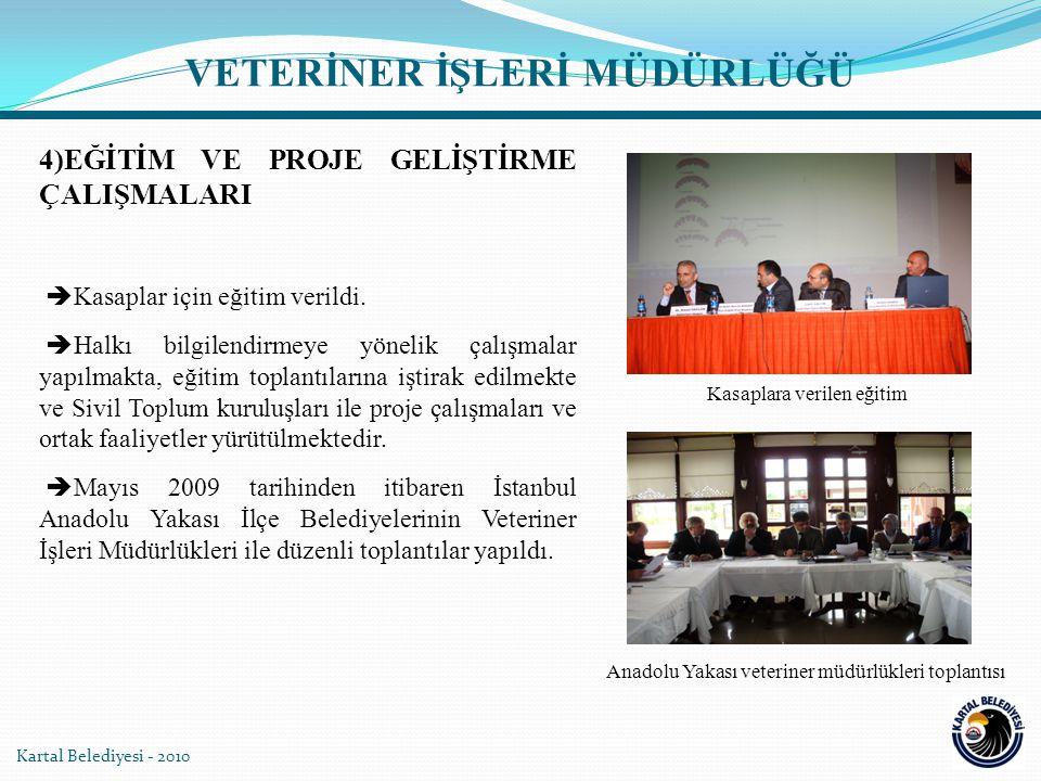 5)KARTAL SOKAK HAYVANLARI PLATFORMU  Kartal Belediyesi, 5199 sayılı Hayvanları Koruma Kanununun yerel yönetimlere yüklediği sorumluluklar çerçevesinde, sorunları toplumla paylaşarak çözüm bulma konusunda, Belediye çalışanları, gönüllüler ve Hayvan Hakları Federasyonu (Haytap) ile birlikte Kartal Sokak Hayvanları Platformu adı altında 03.02.2010 tarihinden itibaren çalışmalara başladı.