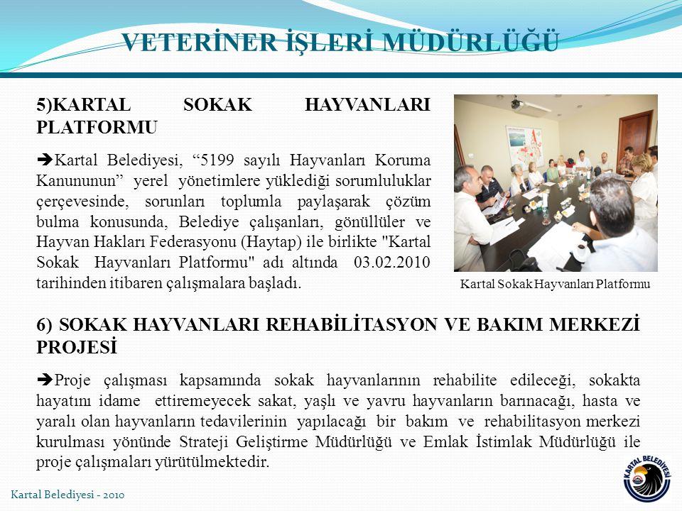 """5)KARTAL SOKAK HAYVANLARI PLATFORMU  Kartal Belediyesi, """"5199 sayılı Hayvanları Koruma Kanununun"""" yerel yönetimlere yüklediği sorumluluklar çerçevesi"""