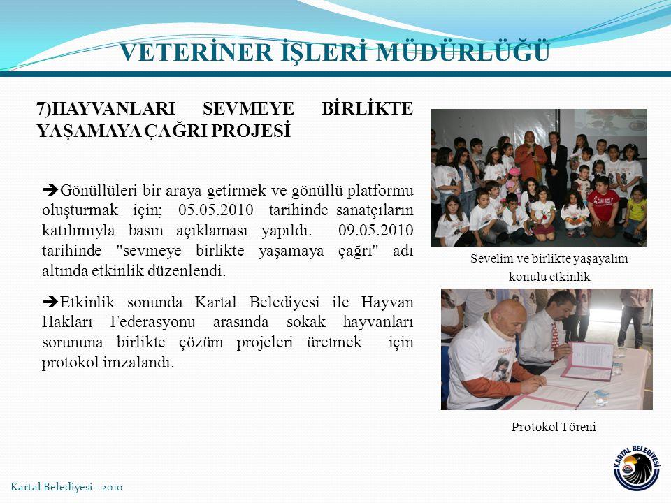 7)HAYVANLARI SEVMEYE BİRLİKTE YAŞAMAYA ÇAĞRI PROJESİ  Gönüllüleri bir araya getirmek ve gönüllü platformu oluşturmak için; 05.05.2010 tarihinde sanat