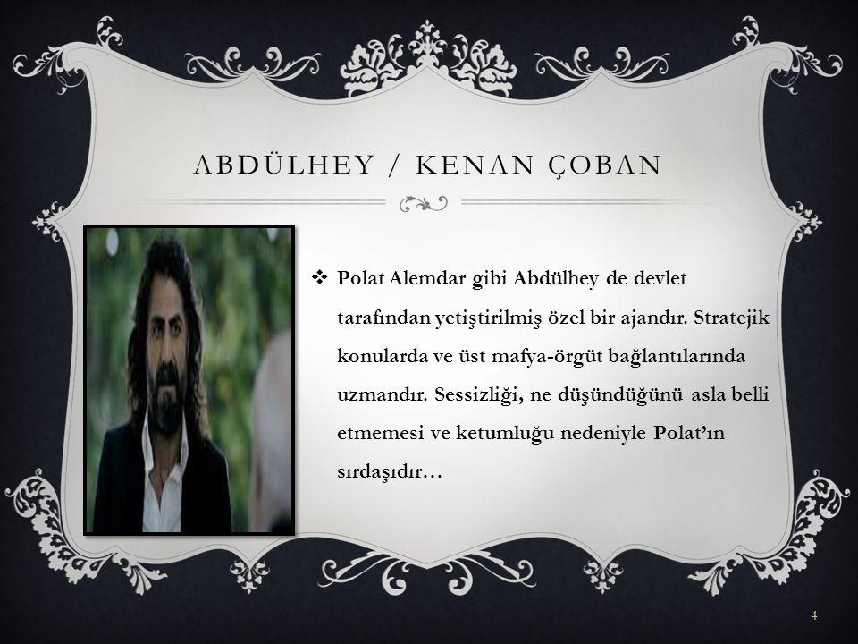 ABDÜLHEY / KENAN ÇOBAN  Polat Alemdar gibi Abdülhey de devlet tarafından yetiştirilmiş özel bir ajandır. Stratejik konularda ve üst mafya-örgüt bağla