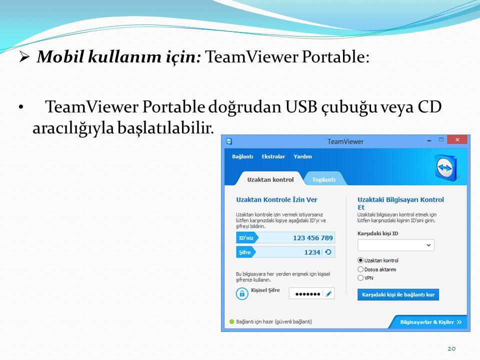  Mobil kullanım için: TeamViewer Portable: TeamViewer Portable doğrudan USB çubuğu veya CD aracılığıyla başlatılabilir. 20