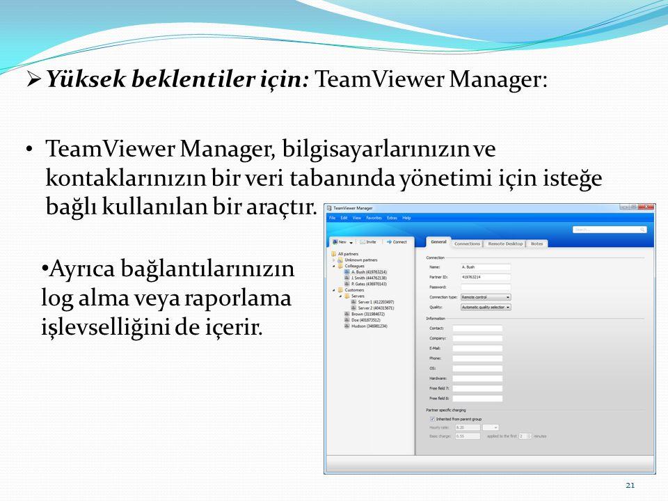  Yüksek beklentiler için: TeamViewer Manager: TeamViewer Manager, bilgisayarlarınızın ve kontaklarınızın bir veri tabanında yönetimi için isteğe bağl
