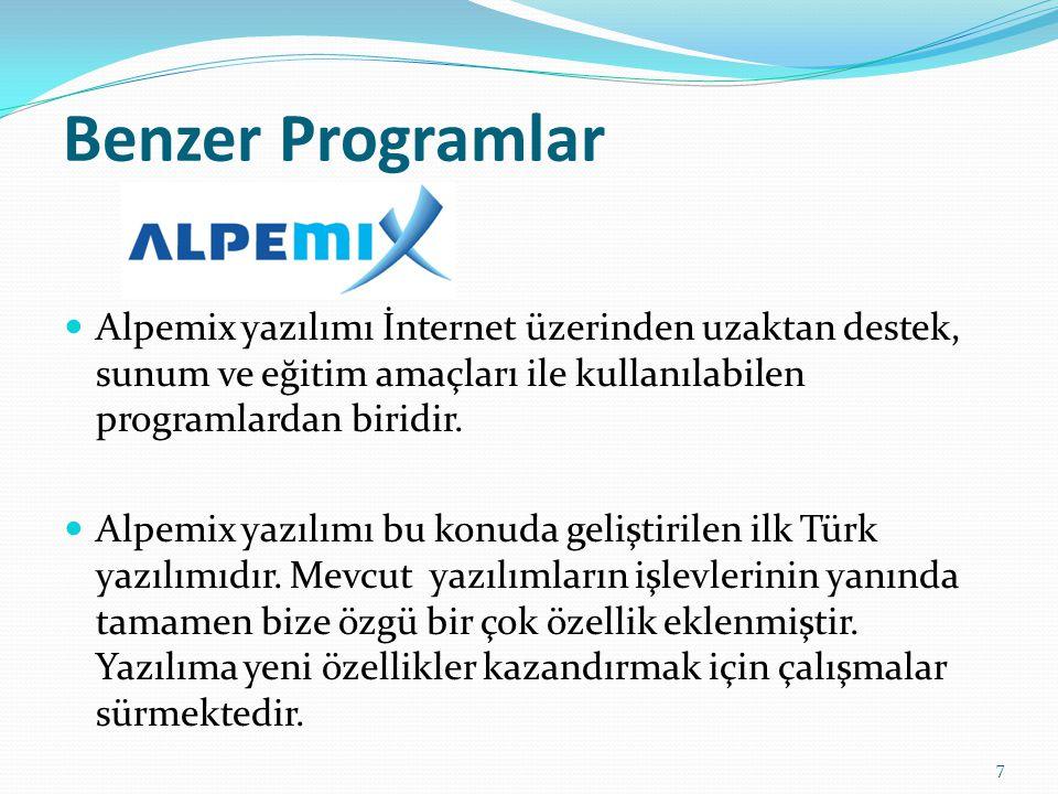 Benzer Programlar Alpemix yazılımı İnternet üzerinden uzaktan destek, sunum ve eğitim amaçları ile kullanılabilen programlardan biridir. Alpemix yazıl