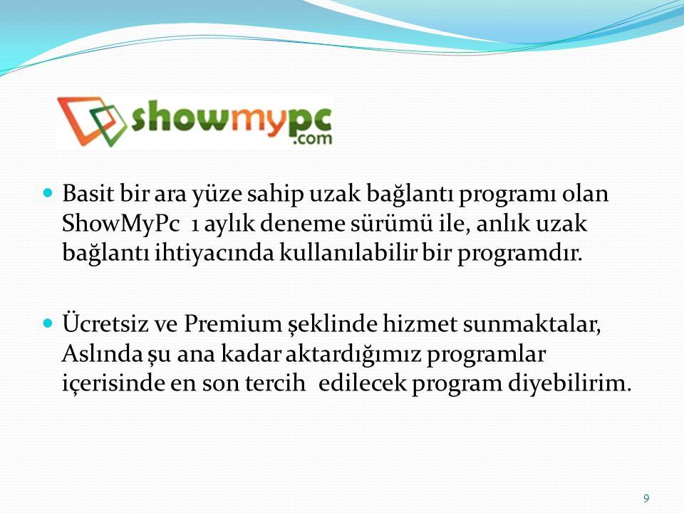 Basit bir ara yüze sahip uzak bağlantı programı olan ShowMyPc 1 aylık deneme sürümü ile, anlık uzak bağlantı ihtiyacında kullanılabilir bir programdır