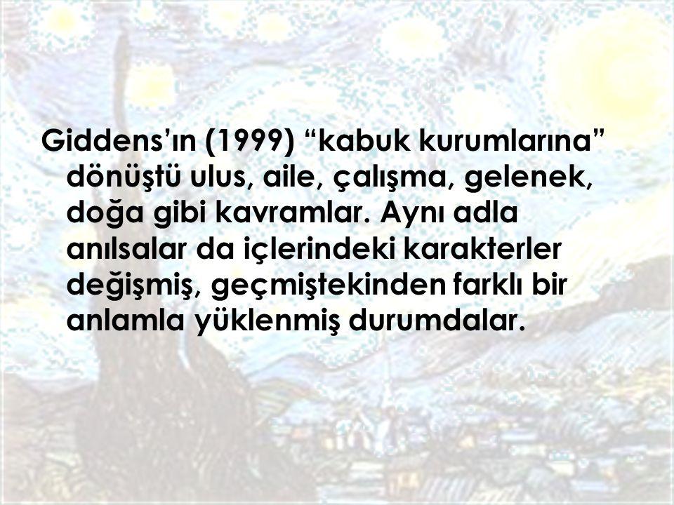 Giddens'ın (1999) kabuk kurumlarına dönüştü ulus, aile, çalışma, gelenek, doğa gibi kavramlar.