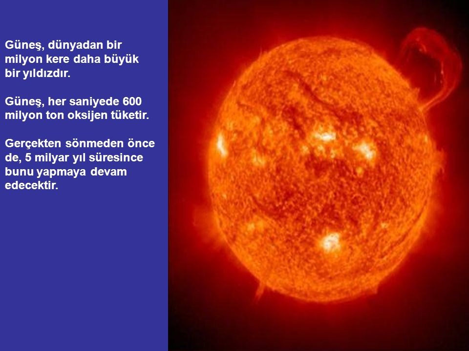 Güneş, dünyadan bir milyon kere daha büyük bir yıldızdır.