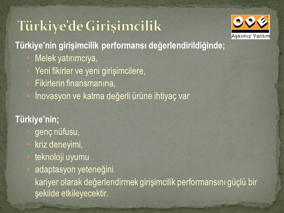 Türkiye'nin girişimcilik performansı değerlendirildiğinde; Melek yatırımcıya, Yeni fikirler ve yeni girişimcilere, Fikirlerin finansmanına, İnovasyon