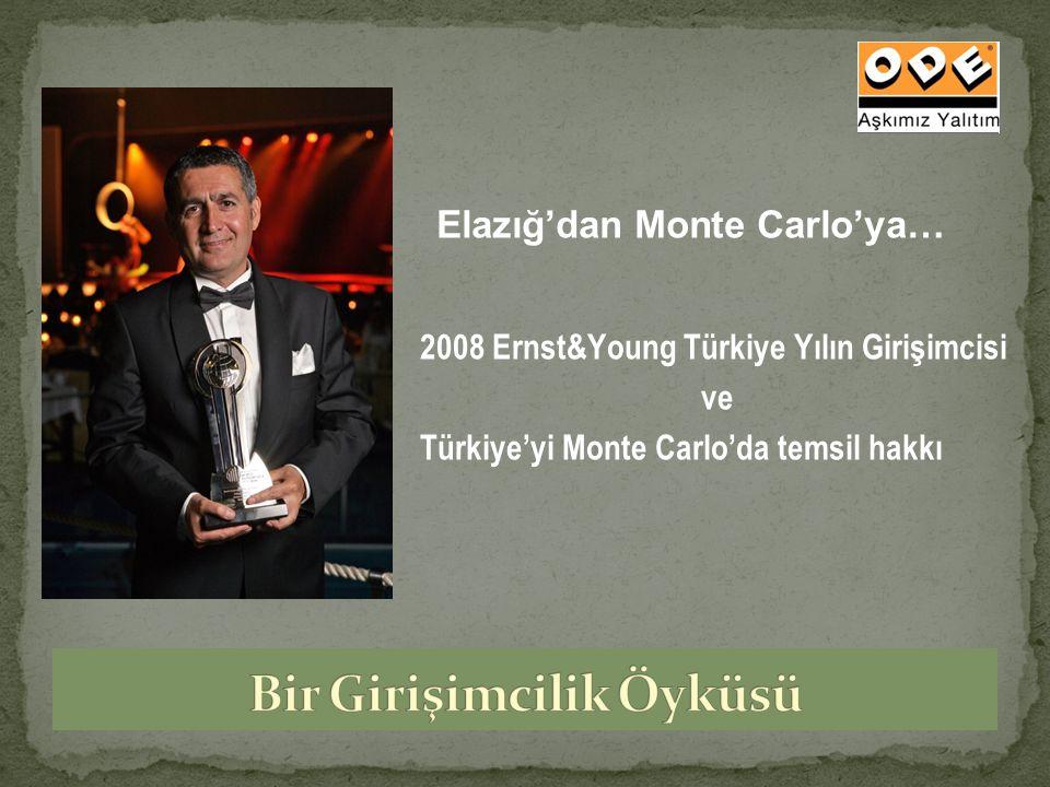2008 Ernst&Young Türkiye Yılın Girişimcisi ve Türkiye'yi Monte Carlo'da temsil hakkı Elazığ'dan Monte Carlo'ya…