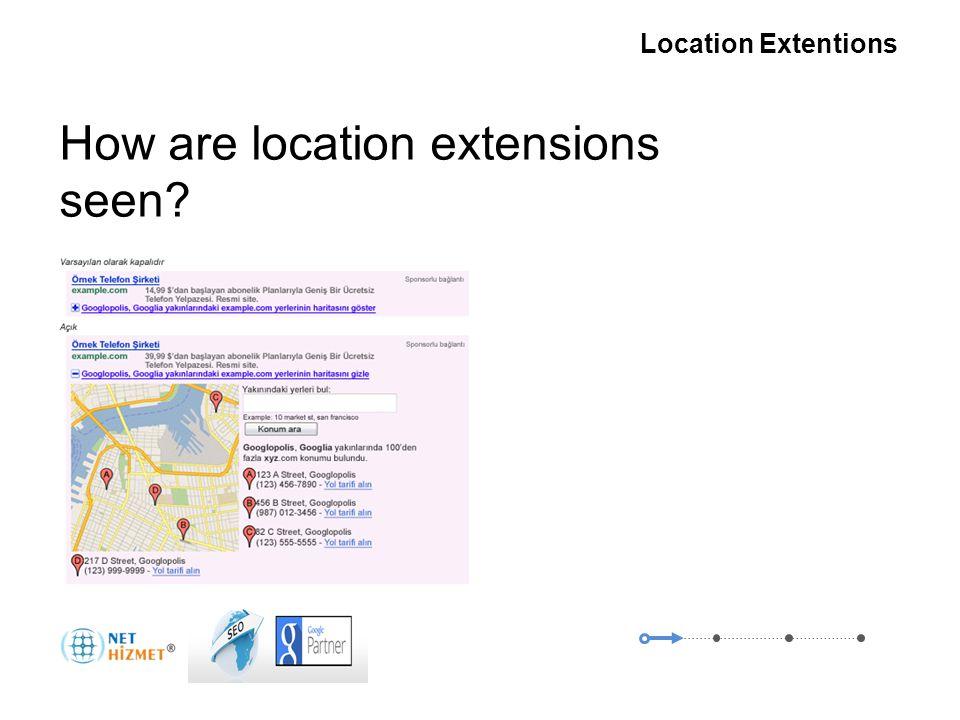 Gerekli olduğunda insanlara ulaşın Yer Uzantıları How are location extensions seen.