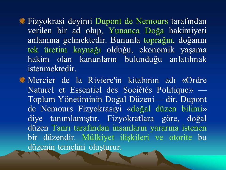 Fizyokrasi deyimi Dupont de Nemours tarafından verilen bir ad olup, Yunanca Doğa hakimiyeti anlamına gelmektedir.
