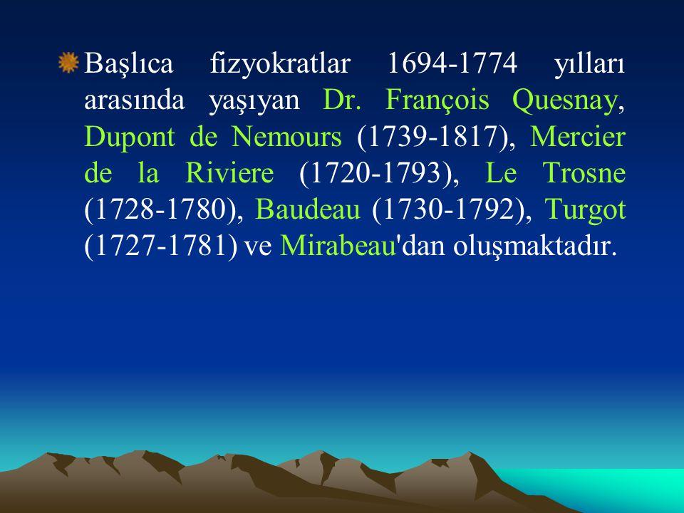 Başlıca fizyokratlar 1694-1774 yılları arasında yaşıyan Dr.