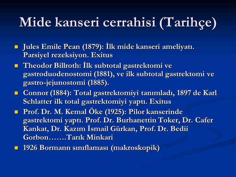 Mide kanseri cerrahisi (Tarihçe) Jules Emile Pean (1879): İlk mide kanseri ameliyatı. Parsiyel rezeksiyon. Exitus Jules Emile Pean (1879): İlk mide ka