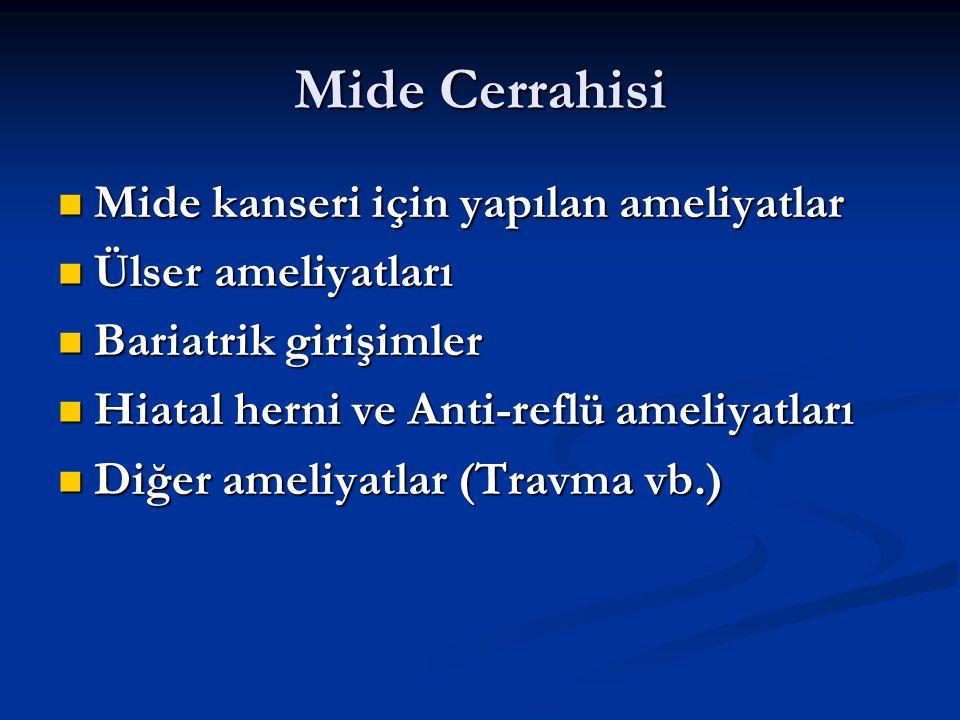 Mide Cerrahisi Mide kanseri için yapılan ameliyatlar Mide kanseri için yapılan ameliyatlar Ülser ameliyatları Ülser ameliyatları Bariatrik girişimler