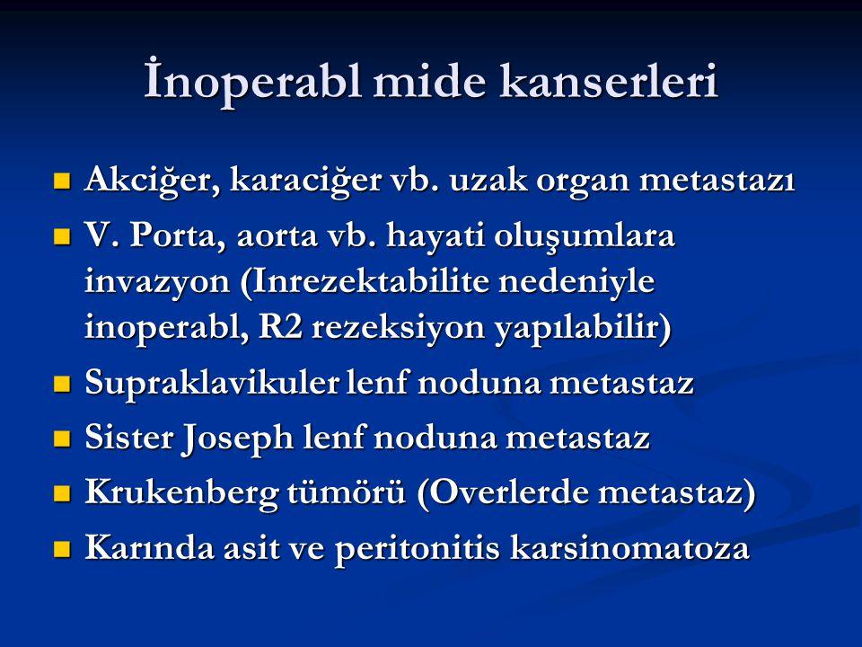 İnoperabl mide kanserleri Akciğer, karaciğer vb. uzak organ metastazı Akciğer, karaciğer vb. uzak organ metastazı V. Porta, aorta vb. hayati oluşumlar