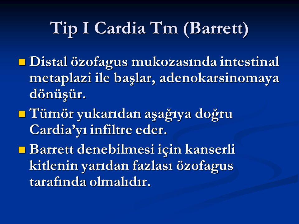 Tip I Cardia Tm (Barrett) Distal özofagus mukozasında intestinal metaplazi ile başlar, adenokarsinomaya dönüşür. Distal özofagus mukozasında intestina