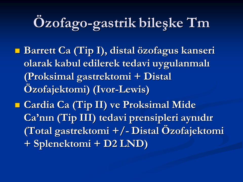 Özofago-gastrik bileşke Tm Barrett Ca (Tip I), distal özofagus kanseri olarak kabul edilerek tedavi uygulanmalı (Proksimal gastrektomi + Distal Özofaj