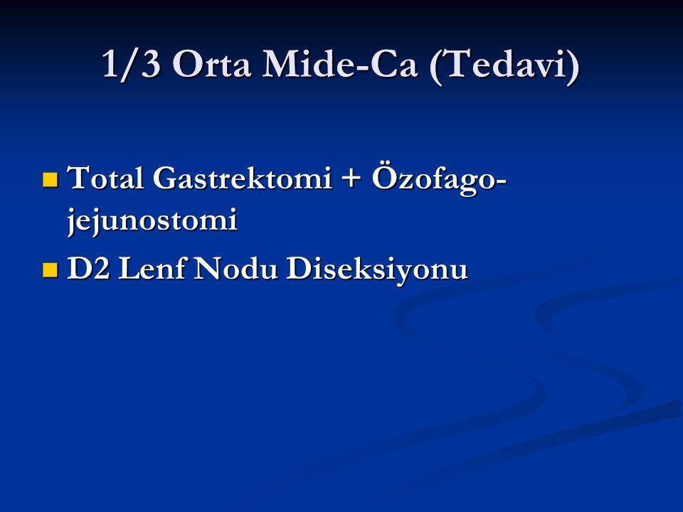 1/3 Orta Mide-Ca (Tedavi) Total Gastrektomi + Özofago- jejunostomi Total Gastrektomi + Özofago- jejunostomi D2 Lenf Nodu Diseksiyonu D2 Lenf Nodu Dise