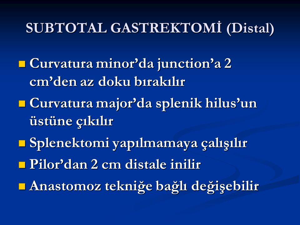 SUBTOTAL GASTREKTOMİ (Distal) Curvatura minor'da junction'a 2 cm'den az doku bırakılır Curvatura minor'da junction'a 2 cm'den az doku bırakılır Curvat