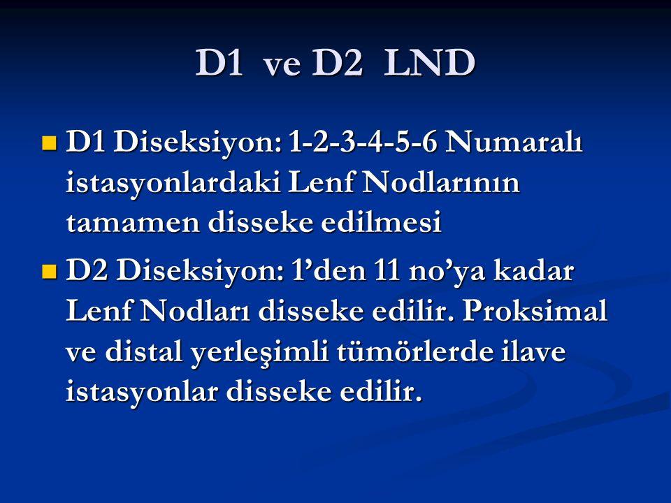 D1 ve D2 LND D1 Diseksiyon: 1-2-3-4-5-6 Numaralı istasyonlardaki Lenf Nodlarının tamamen disseke edilmesi D1 Diseksiyon: 1-2-3-4-5-6 Numaralı istasyon