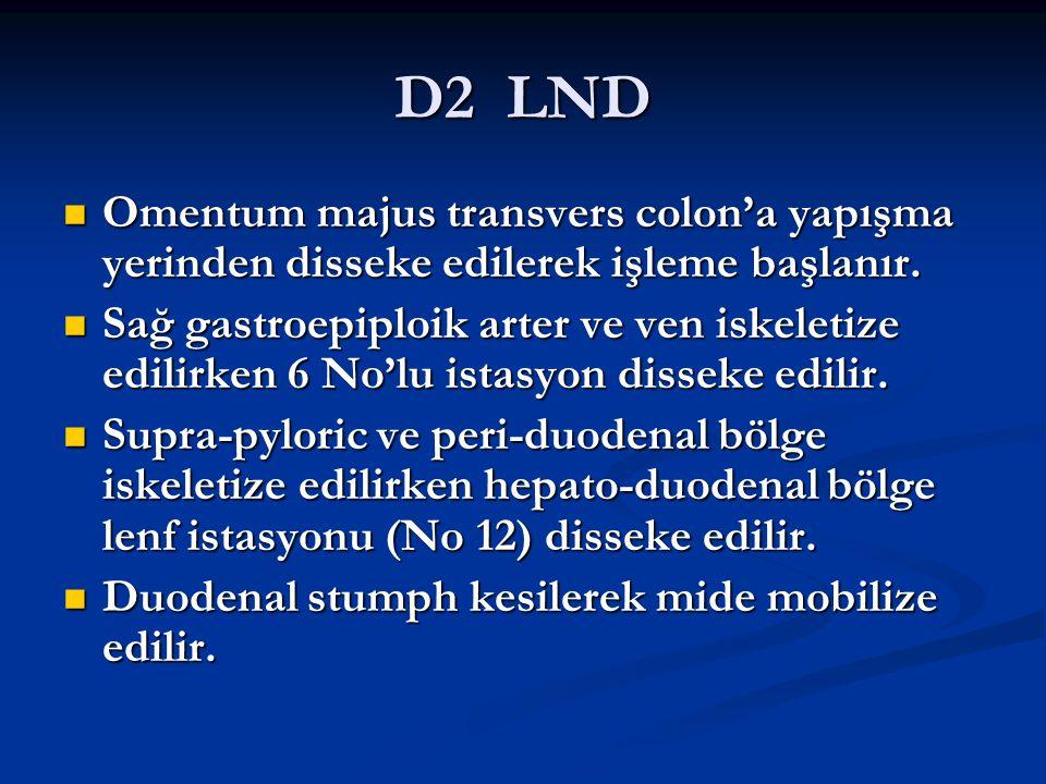 D2 LND Omentum majus transvers colon'a yapışma yerinden disseke edilerek işleme başlanır. Omentum majus transvers colon'a yapışma yerinden disseke edi