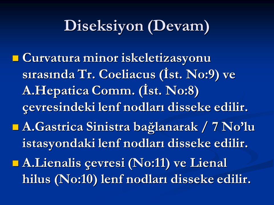 Diseksiyon (Devam) Curvatura minor iskeletizasyonu sırasında Tr. Coeliacus (İst. No:9) ve A.Hepatica Comm. (İst. No:8) çevresindeki lenf nodları disse