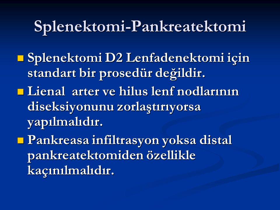 Splenektomi-Pankreatektomi Splenektomi D2 Lenfadenektomi için standart bir prosedür değildir. Splenektomi D2 Lenfadenektomi için standart bir prosedür