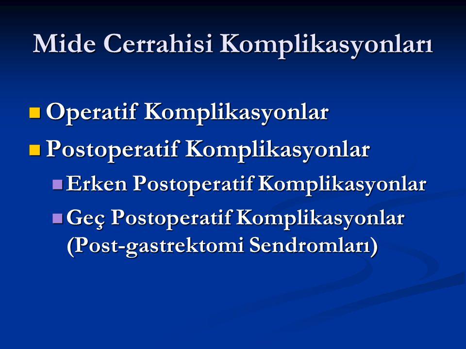 Mide Cerrahisi Komplikasyonları Operatif Komplikasyonlar Operatif Komplikasyonlar Postoperatif Komplikasyonlar Postoperatif Komplikasyonlar Erken Post