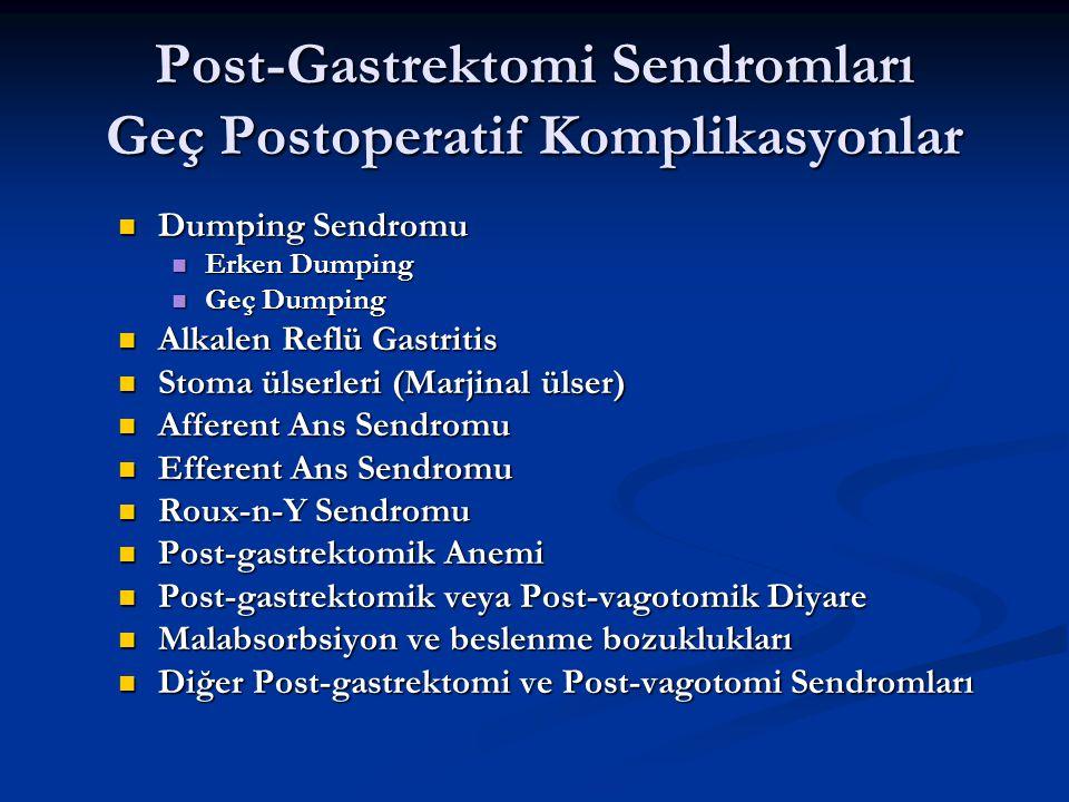 Post-Gastrektomi Sendromları Geç Postoperatif Komplikasyonlar Dumping Sendromu Dumping Sendromu Erken Dumping Erken Dumping Geç Dumping Geç Dumping Al