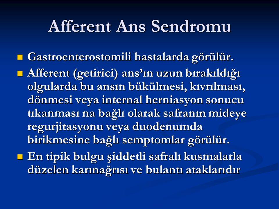 Afferent Ans Sendromu Gastroenterostomili hastalarda görülür. Gastroenterostomili hastalarda görülür. Afferent (getirici) ans'ın uzun bırakıldığı olgu