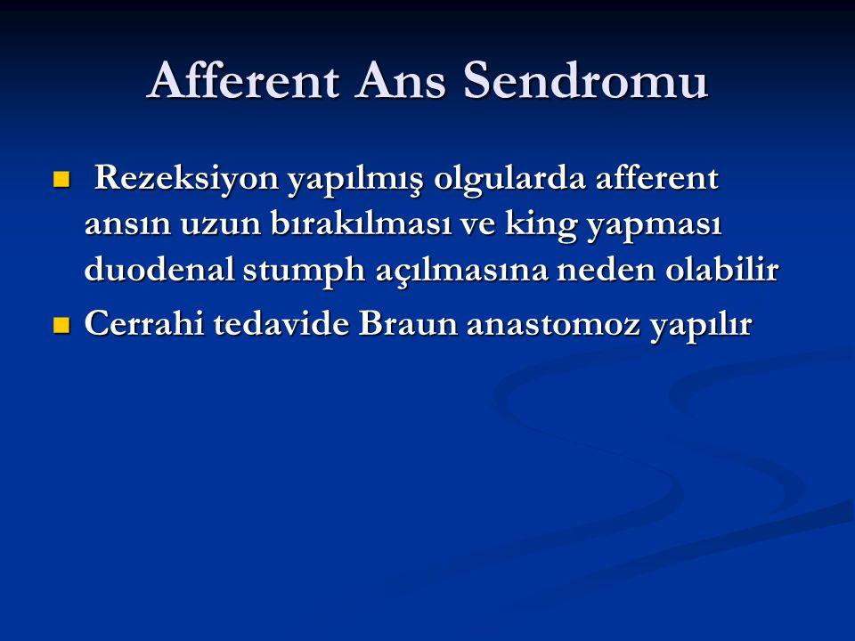 Afferent Ans Sendromu Rezeksiyon yapılmış olgularda afferent ansın uzun bırakılması ve king yapması duodenal stumph açılmasına neden olabilir Rezeksiy