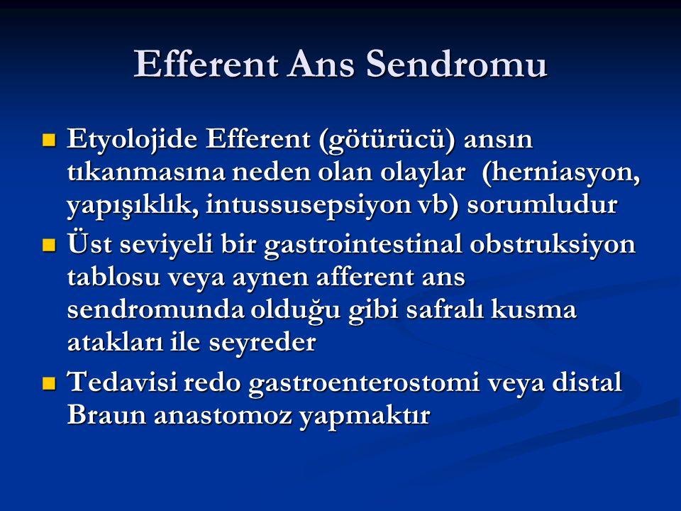 Efferent Ans Sendromu Etyolojide Efferent (götürücü) ansın tıkanmasına neden olan olaylar (herniasyon, yapışıklık, intussusepsiyon vb) sorumludur Etyo