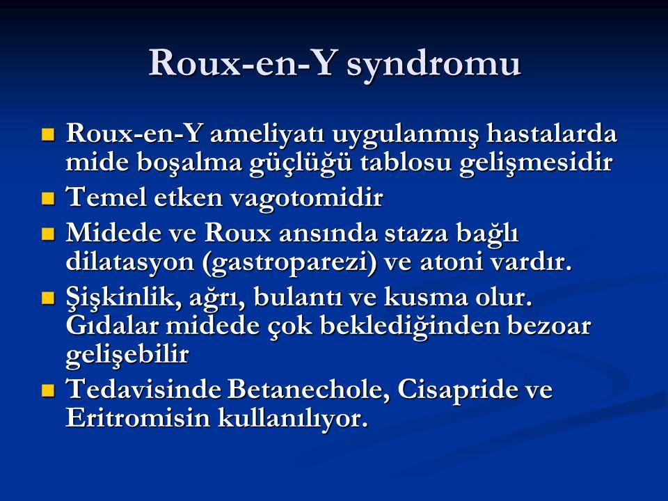 Roux-en-Y syndromu Roux-en-Y ameliyatı uygulanmış hastalarda mide boşalma güçlüğü tablosu gelişmesidir Roux-en-Y ameliyatı uygulanmış hastalarda mide
