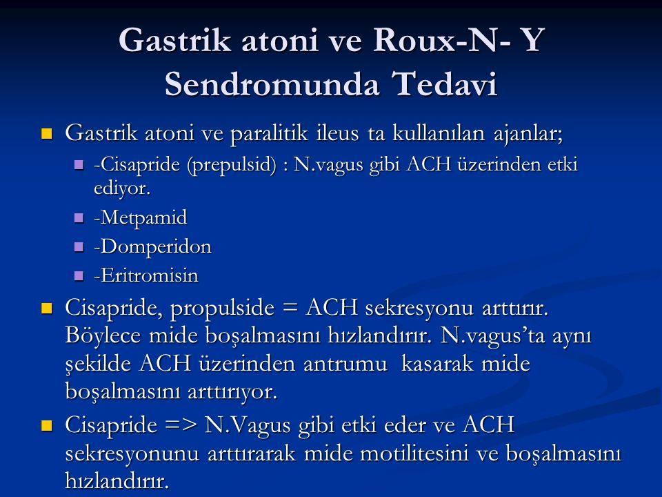 Gastrik atoni ve Roux-N- Y Sendromunda Tedavi Gastrik atoni ve paralitik ileus ta kullanılan ajanlar; Gastrik atoni ve paralitik ileus ta kullanılan a