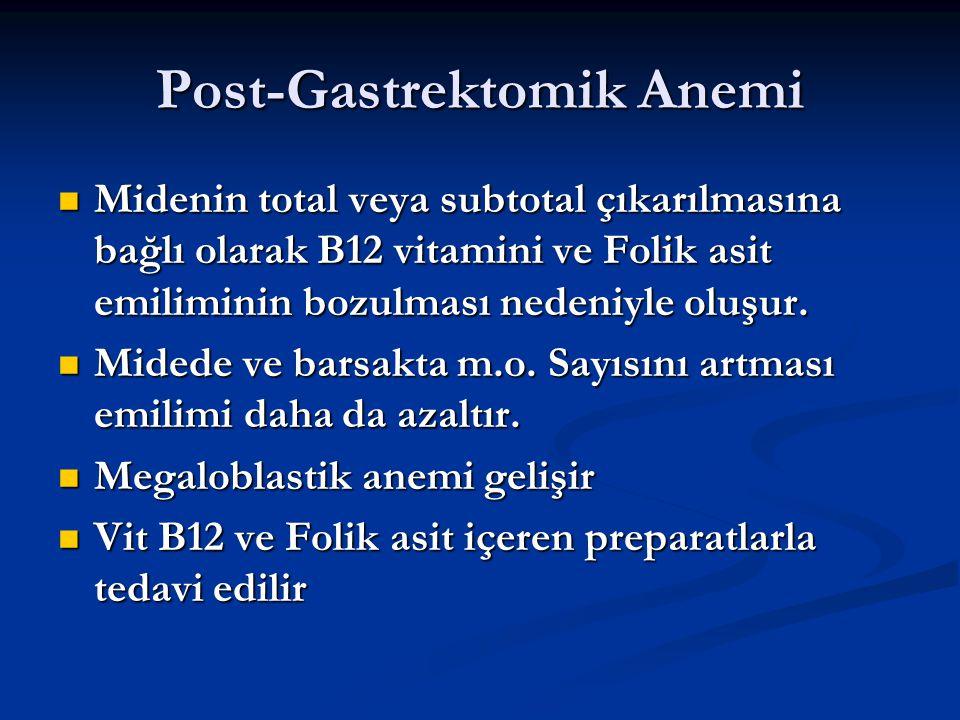 Post-Gastrektomik Anemi Midenin total veya subtotal çıkarılmasına bağlı olarak B12 vitamini ve Folik asit emiliminin bozulması nedeniyle oluşur. Miden