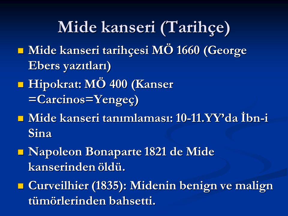 Mide kanseri (Tarihçe) Mide kanseri tarihçesi MÖ 1660 (George Ebers yazıtları) Mide kanseri tarihçesi MÖ 1660 (George Ebers yazıtları) Hipokrat: MÖ 40