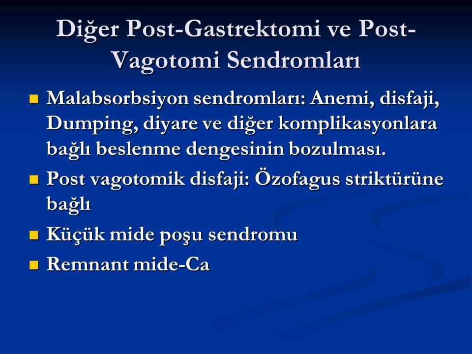 Diğer Post-Gastrektomi ve Post- Vagotomi Sendromları Malabsorbsiyon sendromları: Anemi, disfaji, Dumping, diyare ve diğer komplikasyonlara bağlı besle