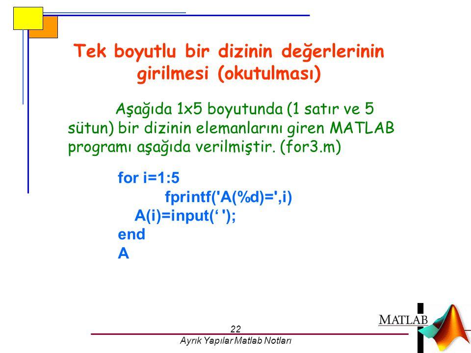 22 Ayrık Yapılar Matlab Notları Tek boyutlu bir dizinin değerlerinin girilmesi (okutulması) for i=1:5 fprintf('A(%d)=',i) A(i)=input(' '); end A Aşağı