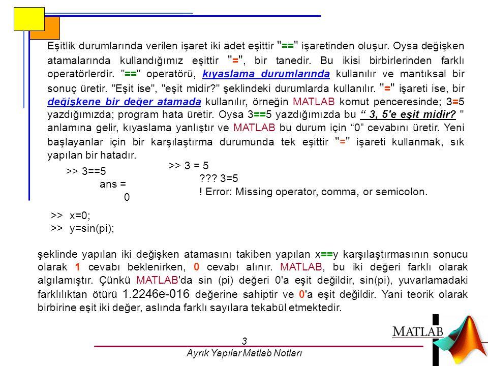 3 Ayrık Yapılar Matlab Notları Eşitlik durumlarında verilen işaret iki adet eşittir