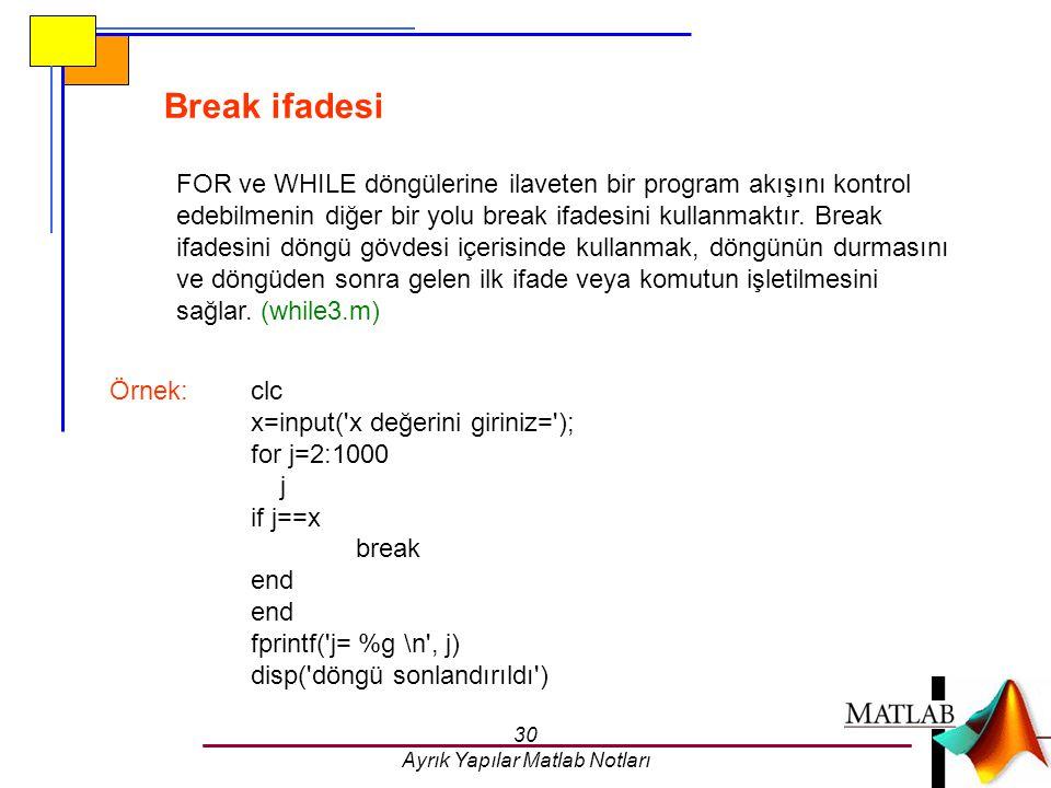 30 Ayrık Yapılar Matlab Notları Break ifadesi FOR ve WHILE döngülerine ilaveten bir program akışını kontrol edebilmenin diğer bir yolu break ifadesini