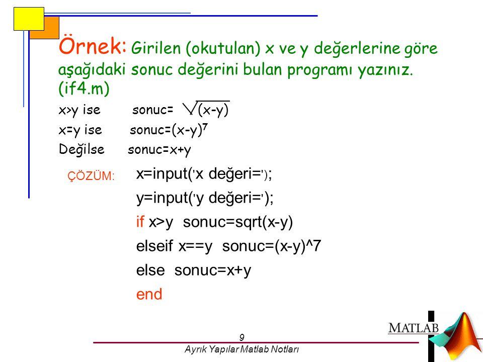 9 Ayrık Yapılar Matlab Notları Örnek: Girilen (okutulan) x ve y değerlerine göre aşağıdaki sonuc değerini bulan programı yazınız. (if4.m) x>y ise sonu