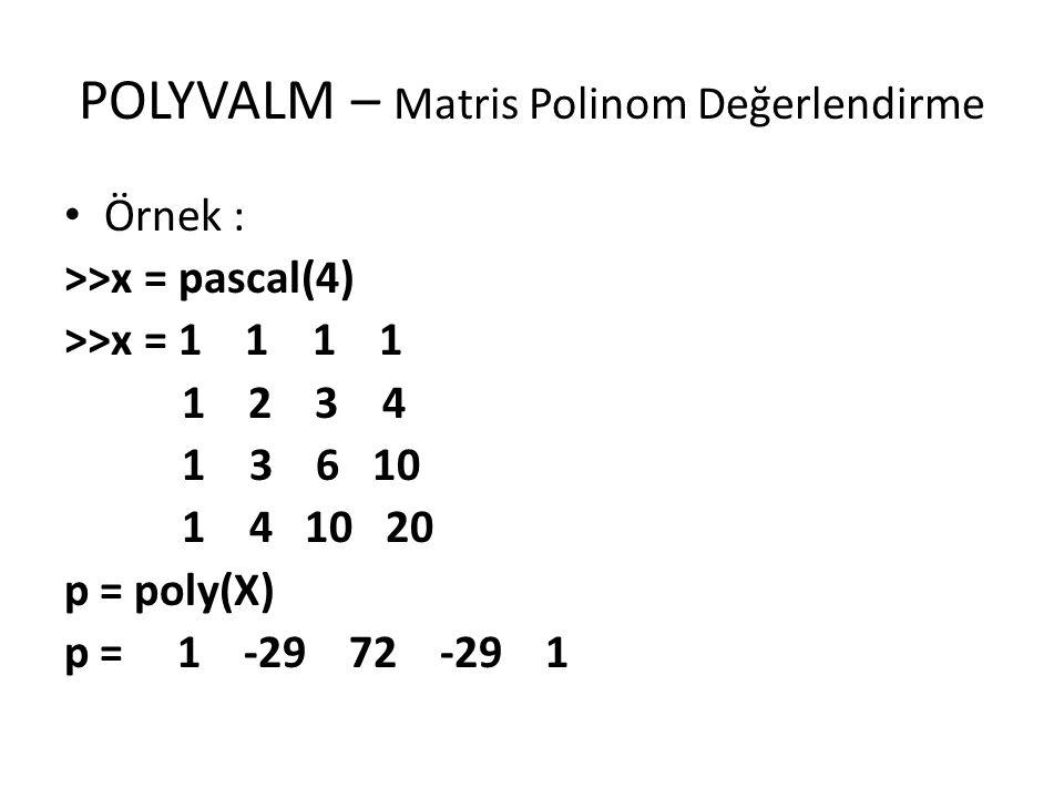 POLYVALM – Matris Polinom Değerlendirme Örnek : >>x = pascal(4) >>x = 1 1 1 1 1 2 3 4 1 3 6 10 1 4 10 20 p = poly(X) p = 1 -29 72 -29 1