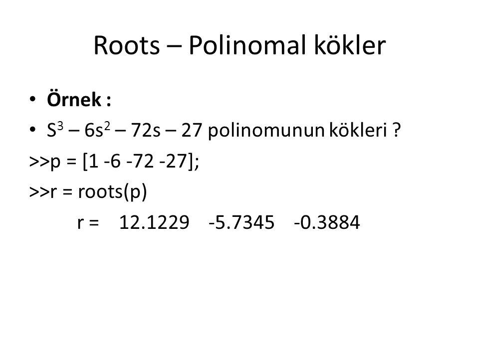 Roots – Polinomal kökler Örnek : S 3 – 6s 2 – 72s – 27 polinomunun kökleri ? >>p = [1 -6 -72 -27]; >>r = roots(p) r = 12.1229 -5.7345 -0.3884