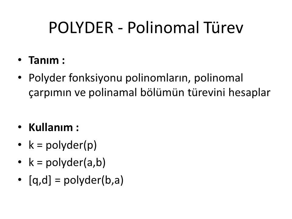 POLYDER - Polinomal Türev Tanım : Polyder fonksiyonu polinomların, polinomal çarpımın ve polinamal bölümün türevini hesaplar Kullanım : k = polyder(p)