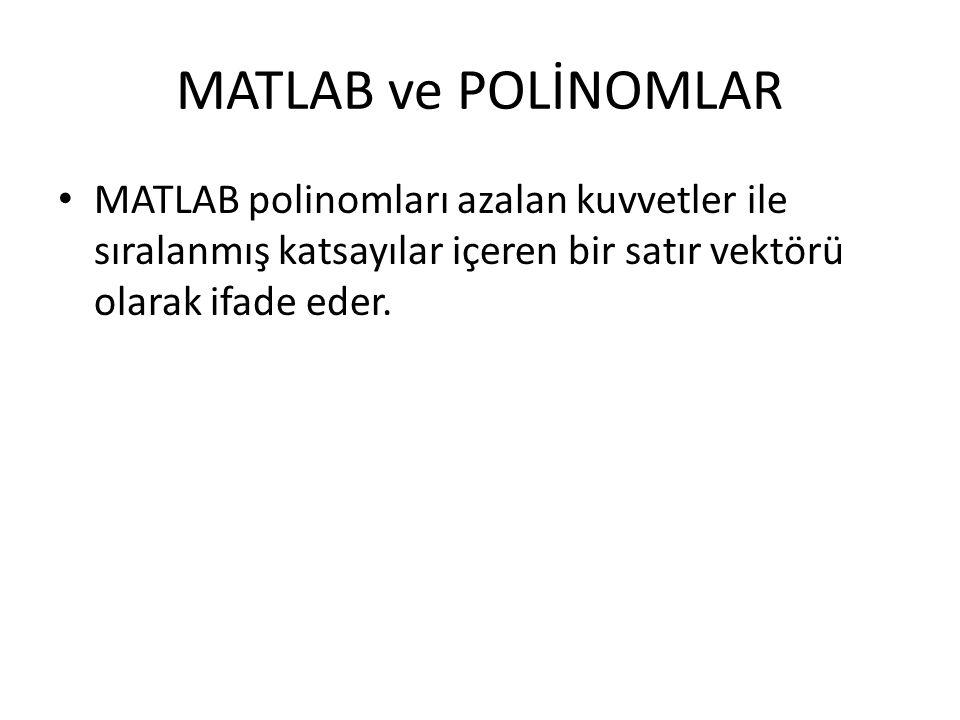 POLYINT – Polinomal İntegral Örnek : P(x)= x5-2x4+2x3+3x2+x+4 şeklinde gibi bir polinomun integrali: p=[1 -2 2 3 1 4]; polyint(p);